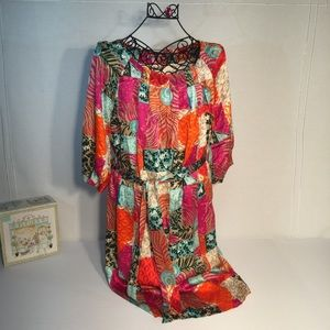 Lilly Pulitzer Patchwork Silk Peacock Dress Size 8